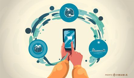 Ilustração em vetor estágios de aplicativos móveis