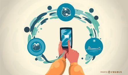 Mobile App inszeniert Vektor-Illustration