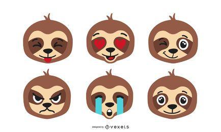 Conjunto de vectores emoji perezoso