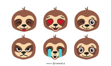 Sloth emoji vector set