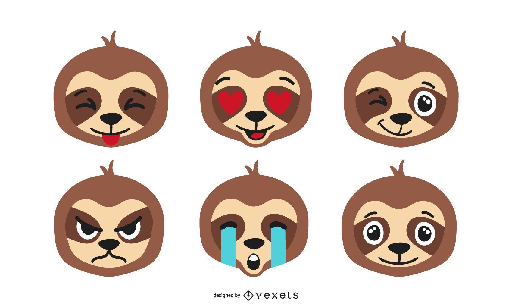 Sloth emoji vector set