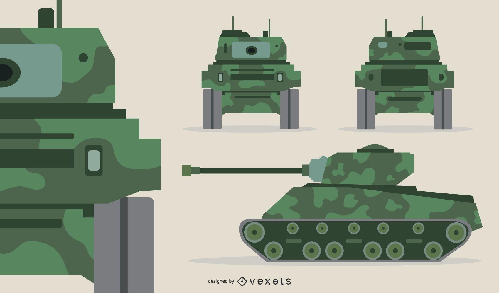 Military Vehicle Vector Set