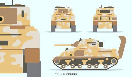 Camuflaje conjunto de tanque militar