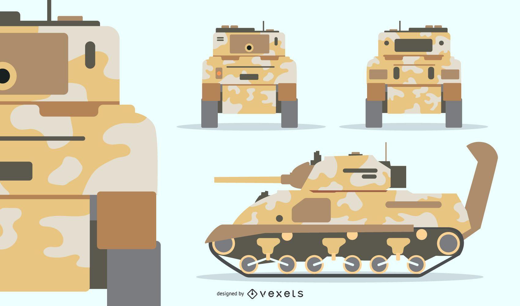 Conjunto de tanque militar Camouflouge