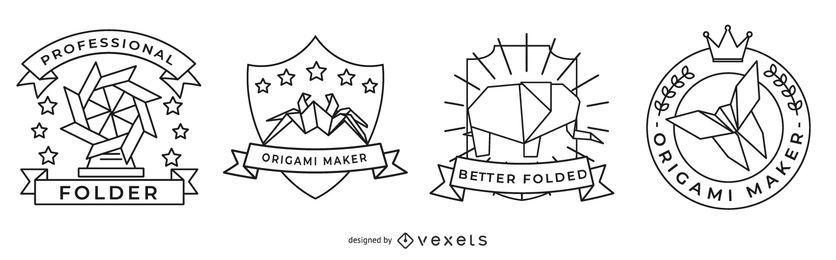 Conjunto de emblemas de origami