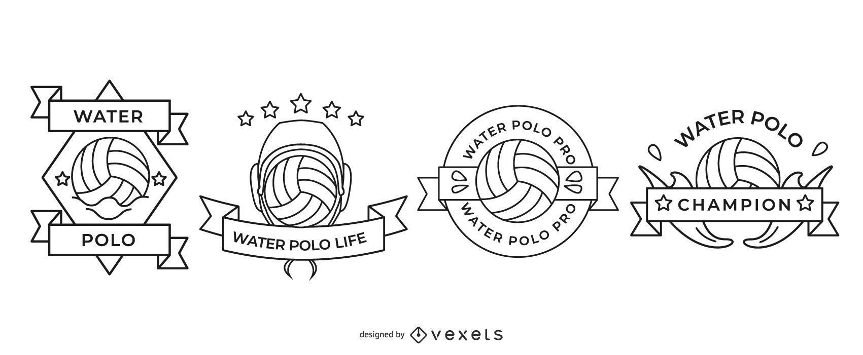 Water Polo Badges Set