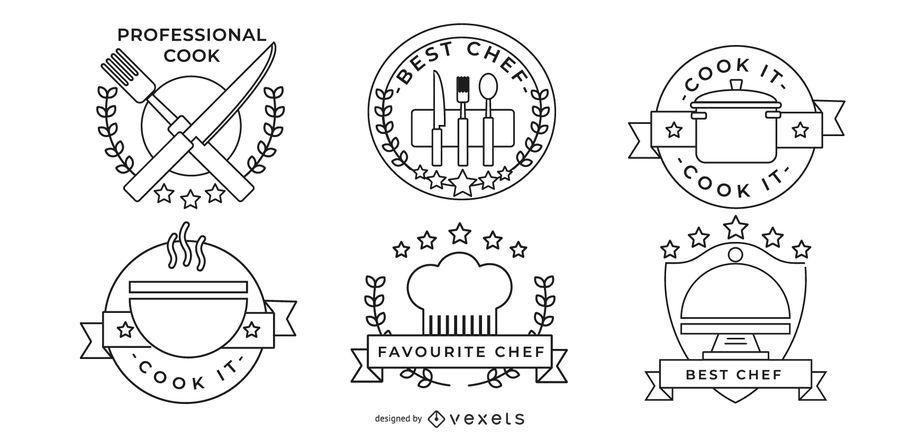 Conjunto de emblemas de chef