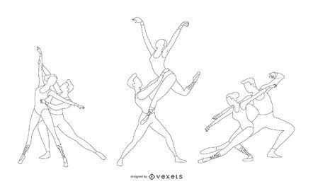 Vector de estilo de línea de ballet