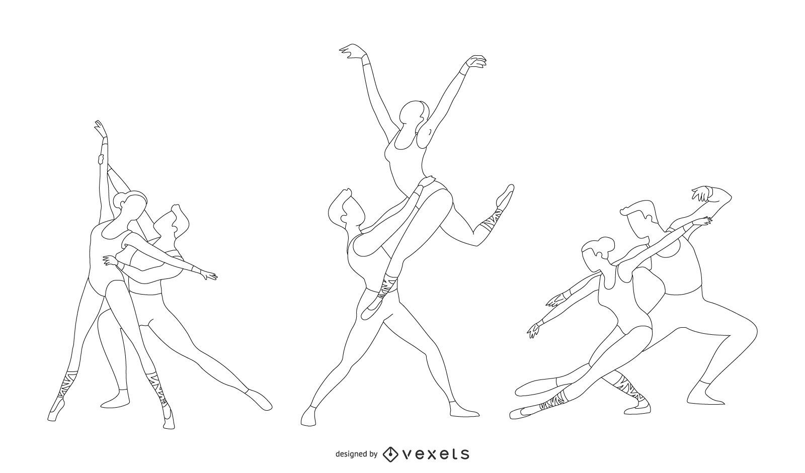 Ballet Line Style Vector
