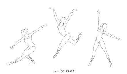 Conjunto de vectores de línea de bailarina
