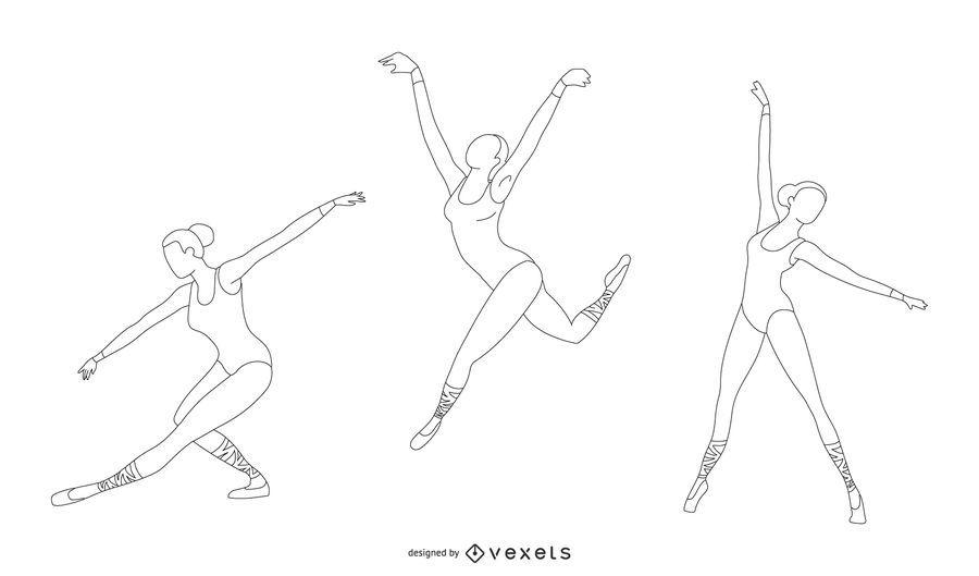 Conjunto de vetores de linha de bailarina