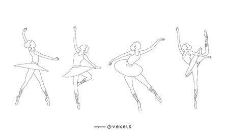 Diseño de vector de línea de bailarina