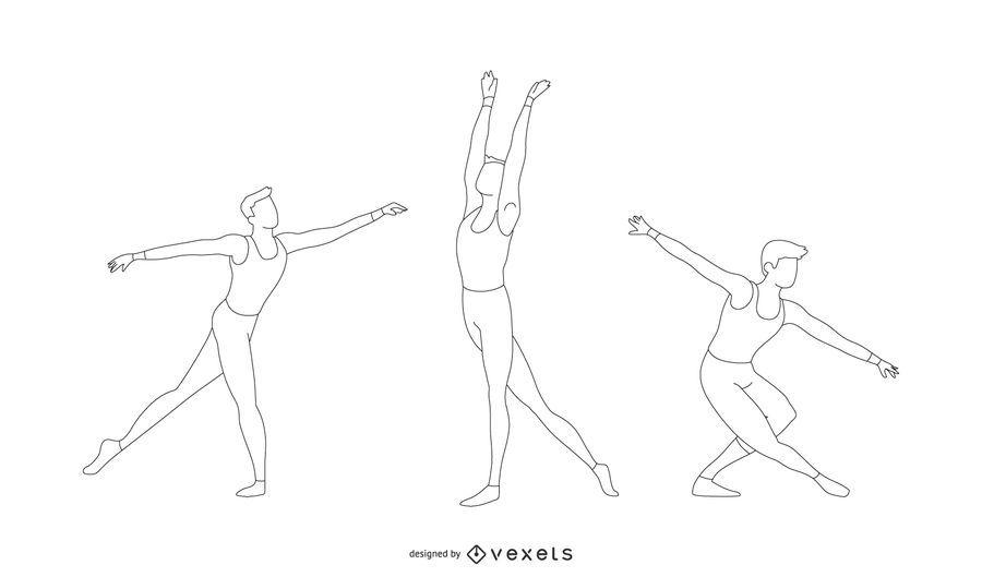 Conjunto de poses de bailarina de ballet