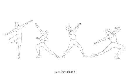 Conjunto de vetor de linha de dançarina de balé masculino