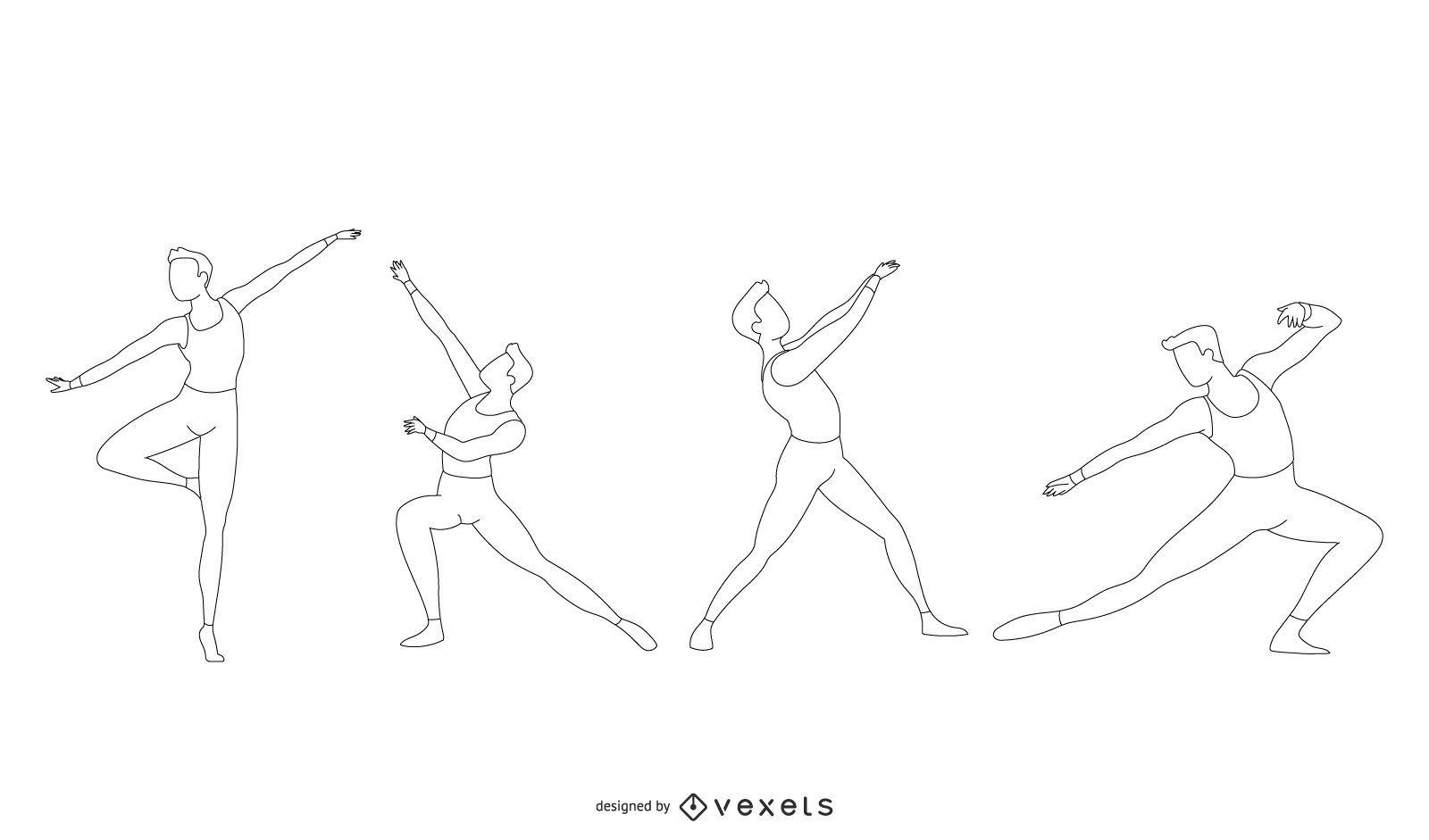 Conjunto de vector de línea de bailarina de ballet masculino