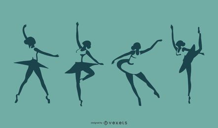 Ballerina-Schattenbild-Set