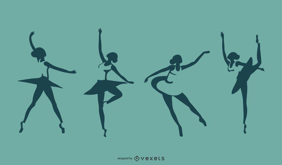 Conjunto de silhueta de bailarina