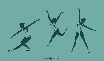 Diseño de silueta de ballet