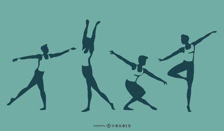 Conjunto de silhueta de dança de balé