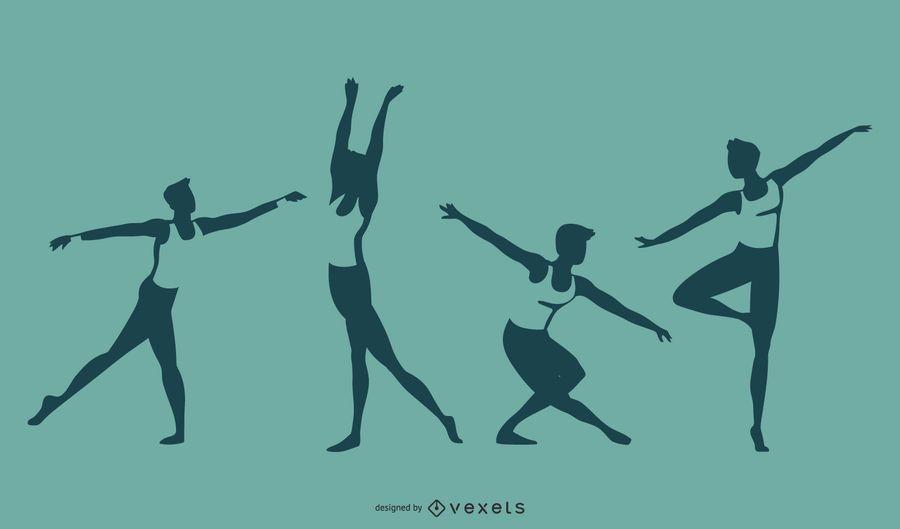 Conjunto de silueta de danza ballet