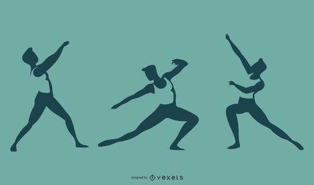 Conjunto de silueta de bailarina de ballet