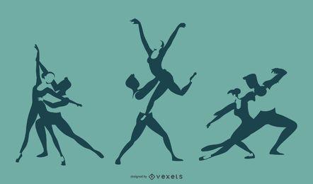 Diseño de silueta de dueto de ballet
