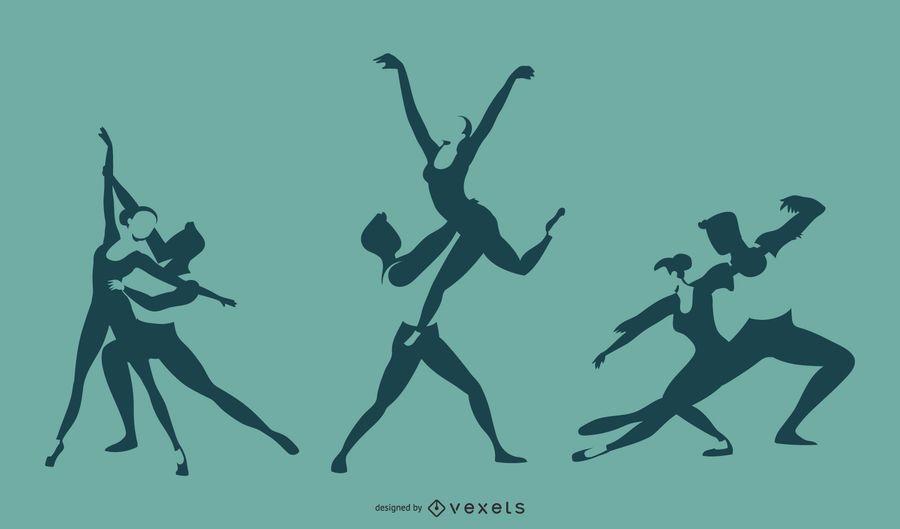 Projeto de silhueta de dueto de balé