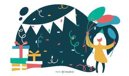 Ilustración plana fiesta de cumpleaños