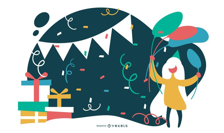 Ilustração plana de festa de aniversário