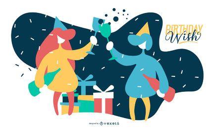 Ilustración plana de cumpleaños deseo