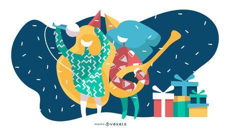 Ilustração de festa de aniversário de karaoke