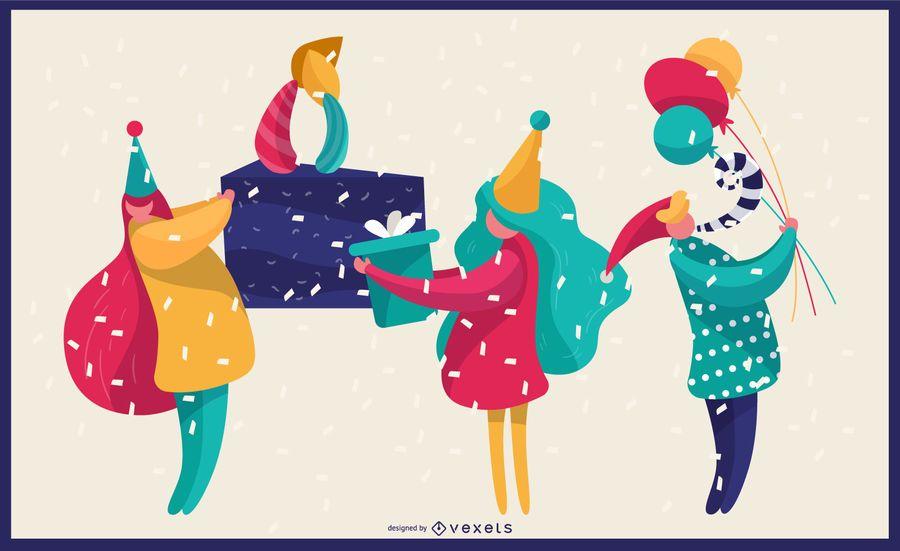 Ilustração vibrante de aniversário
