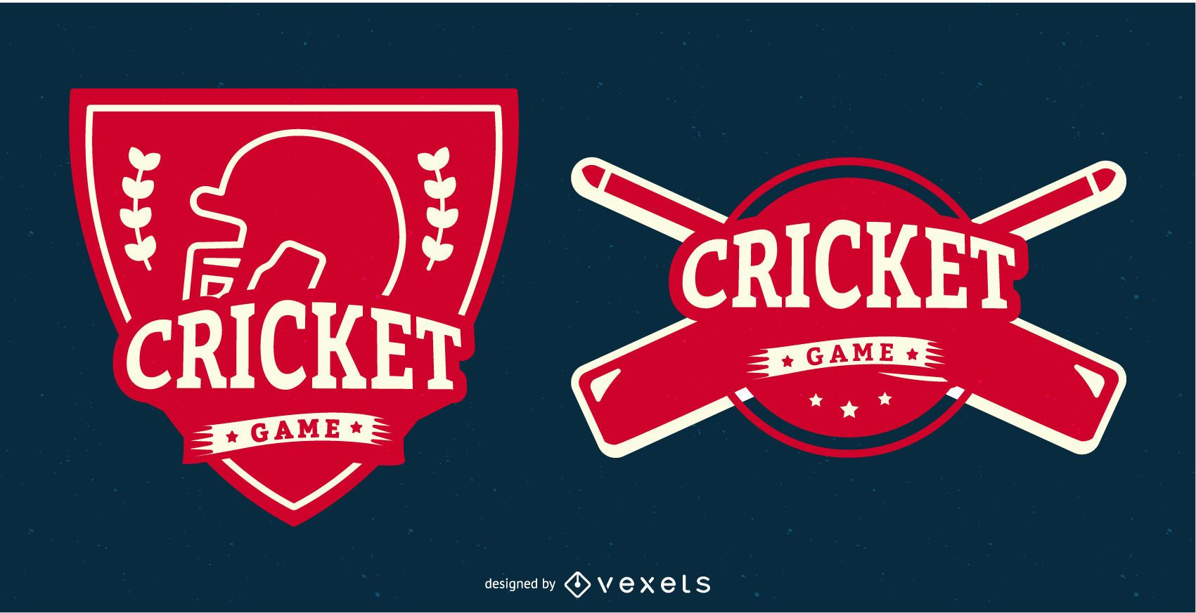 Red Cricket Game Sports Badge