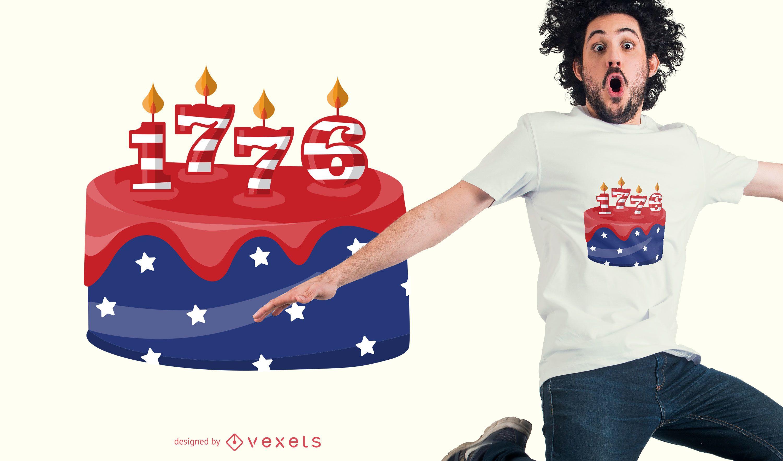 Diseño de camiseta de pastel de cumpleaños de EE. UU.
