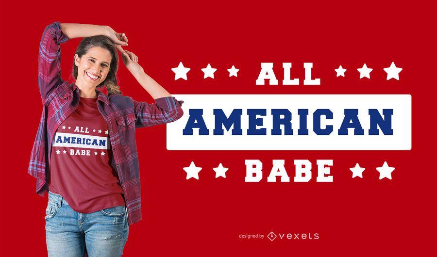 American babe t-shirt design