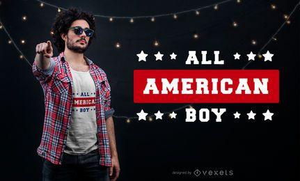 Diseño de camiseta chico americano