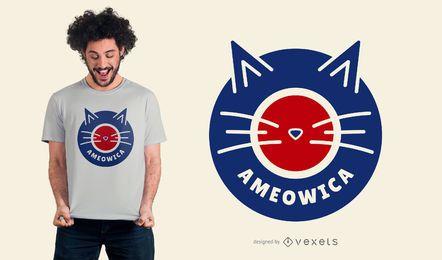 Camiseta de gato Ameowica de diseño.