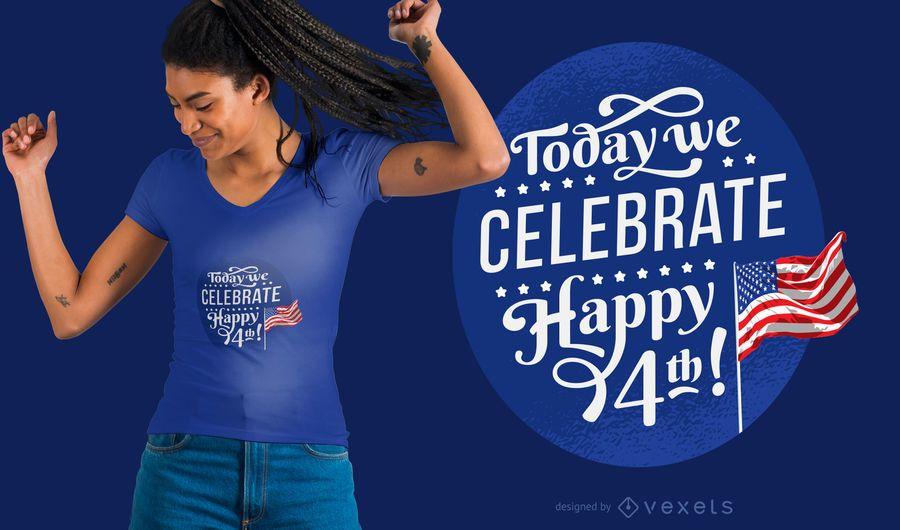 Celebra el 4 de julio diseño de camiseta.
