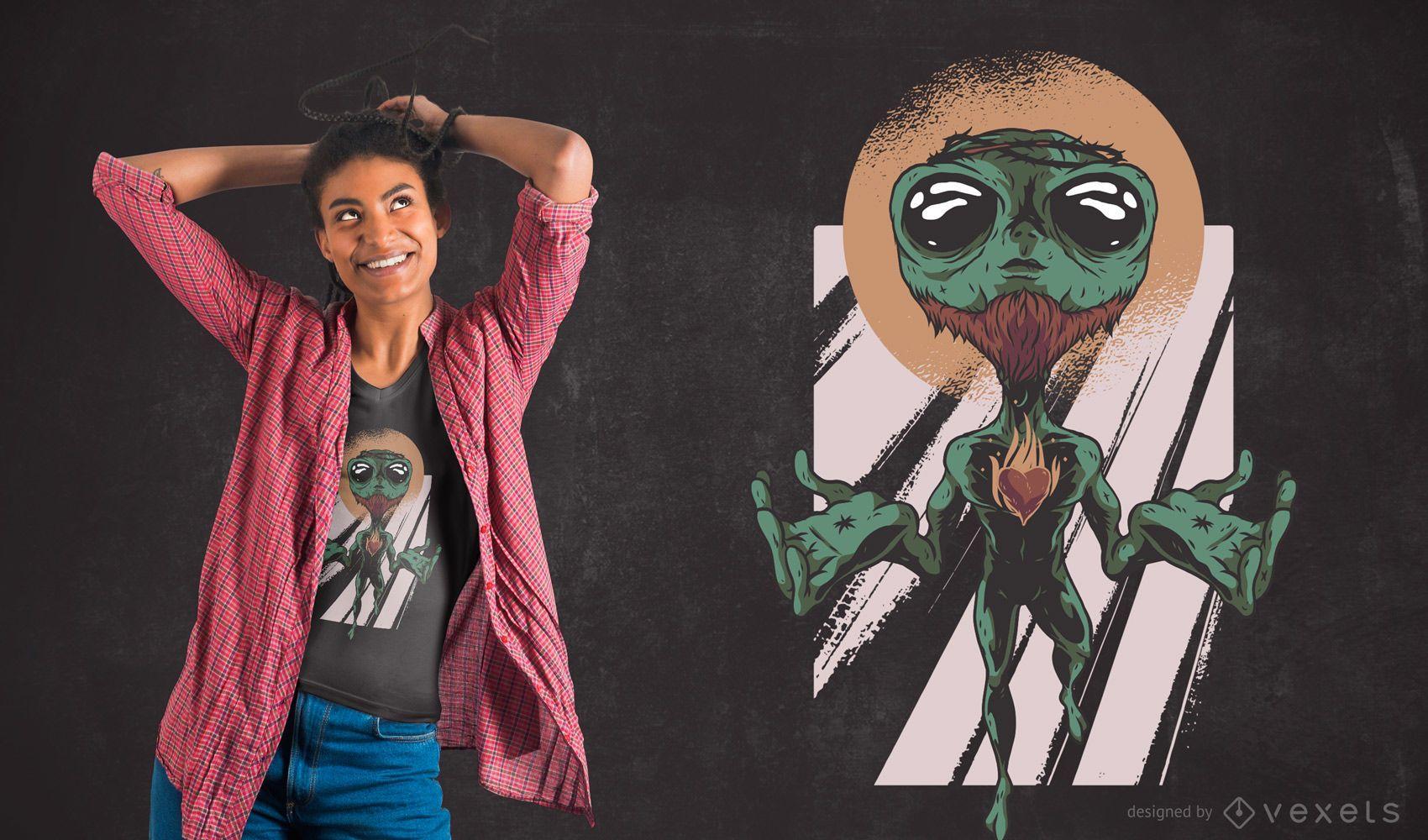 Alien Jesus T-shirt Design