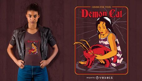 Dämon Katze T-Shirt Design