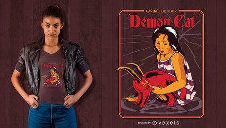 Diseño de camiseta de gato demonio