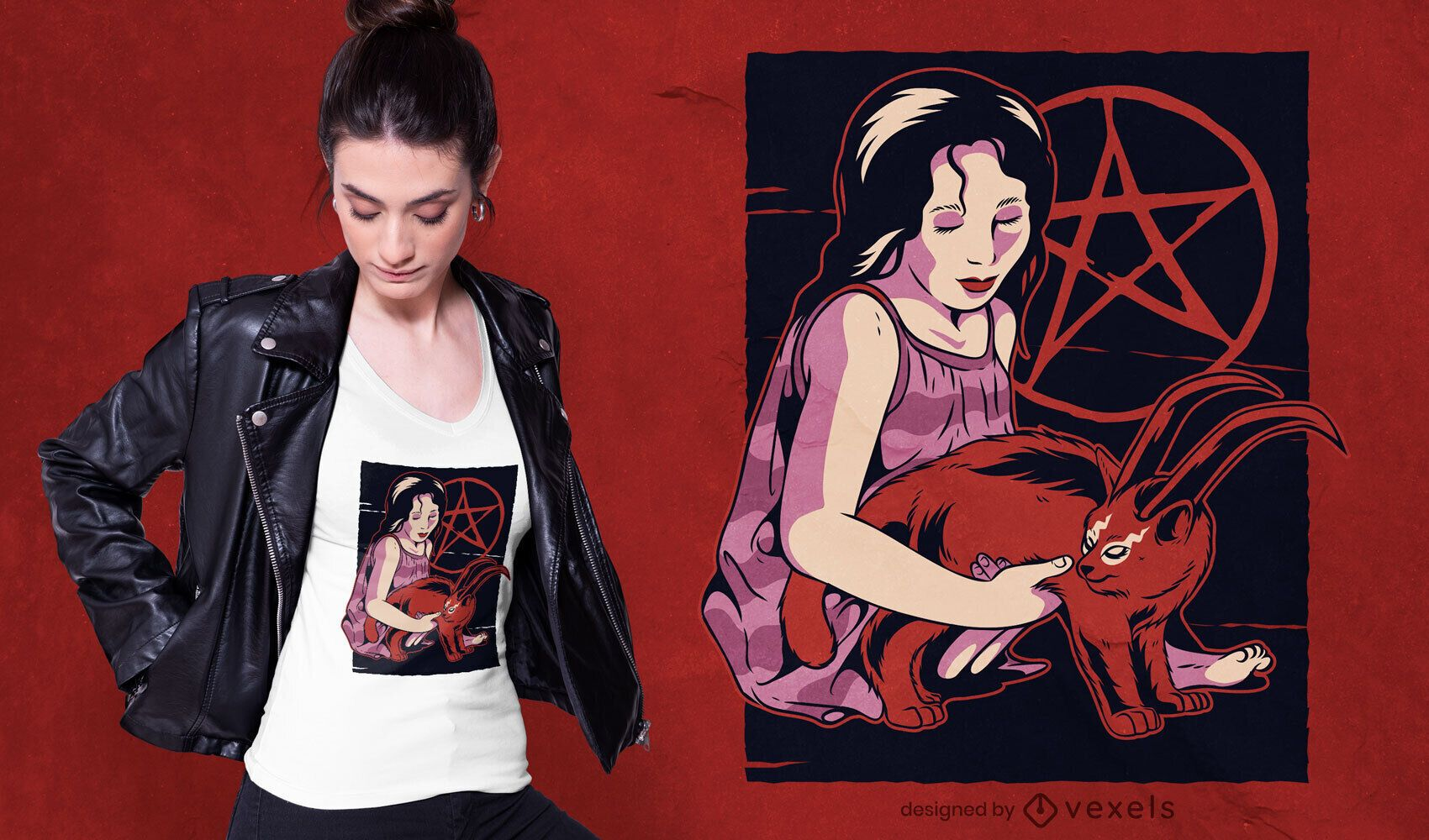Diseño de camiseta Demon Cat