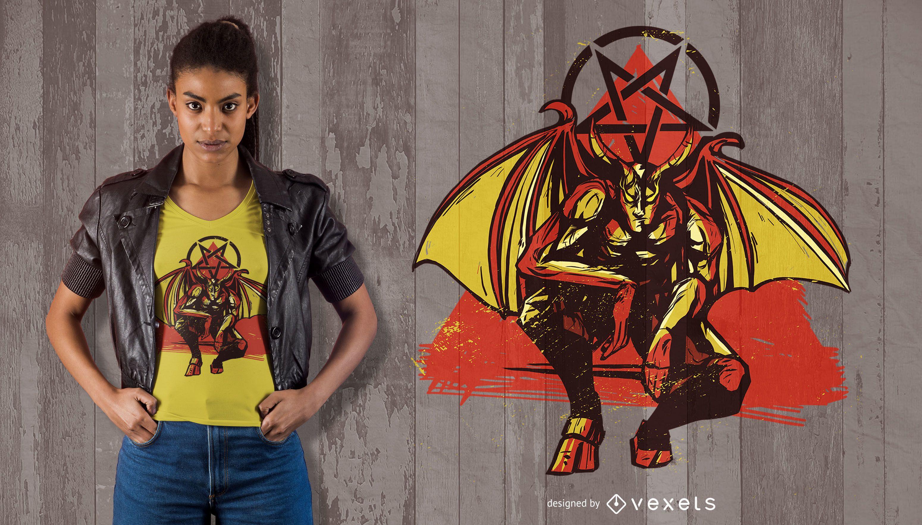 Winged Lucifer T-shirt Design