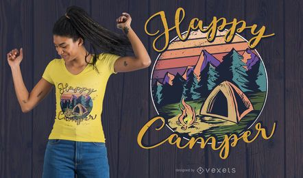 Happy Camper Lettering T-shirt Design