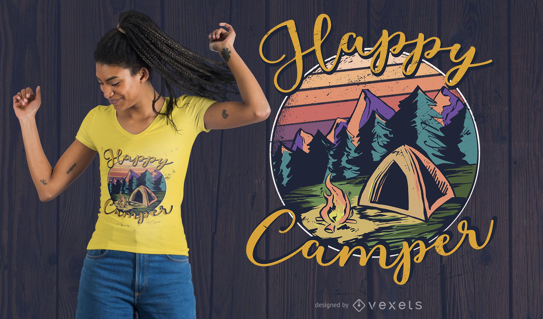 Diseño de camiseta Happy Camper Lettering