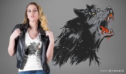 Heulender Werwolf T-Shirt Entwurf