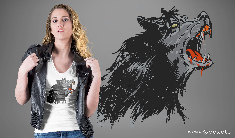Design de camiseta de lobisomem uivando