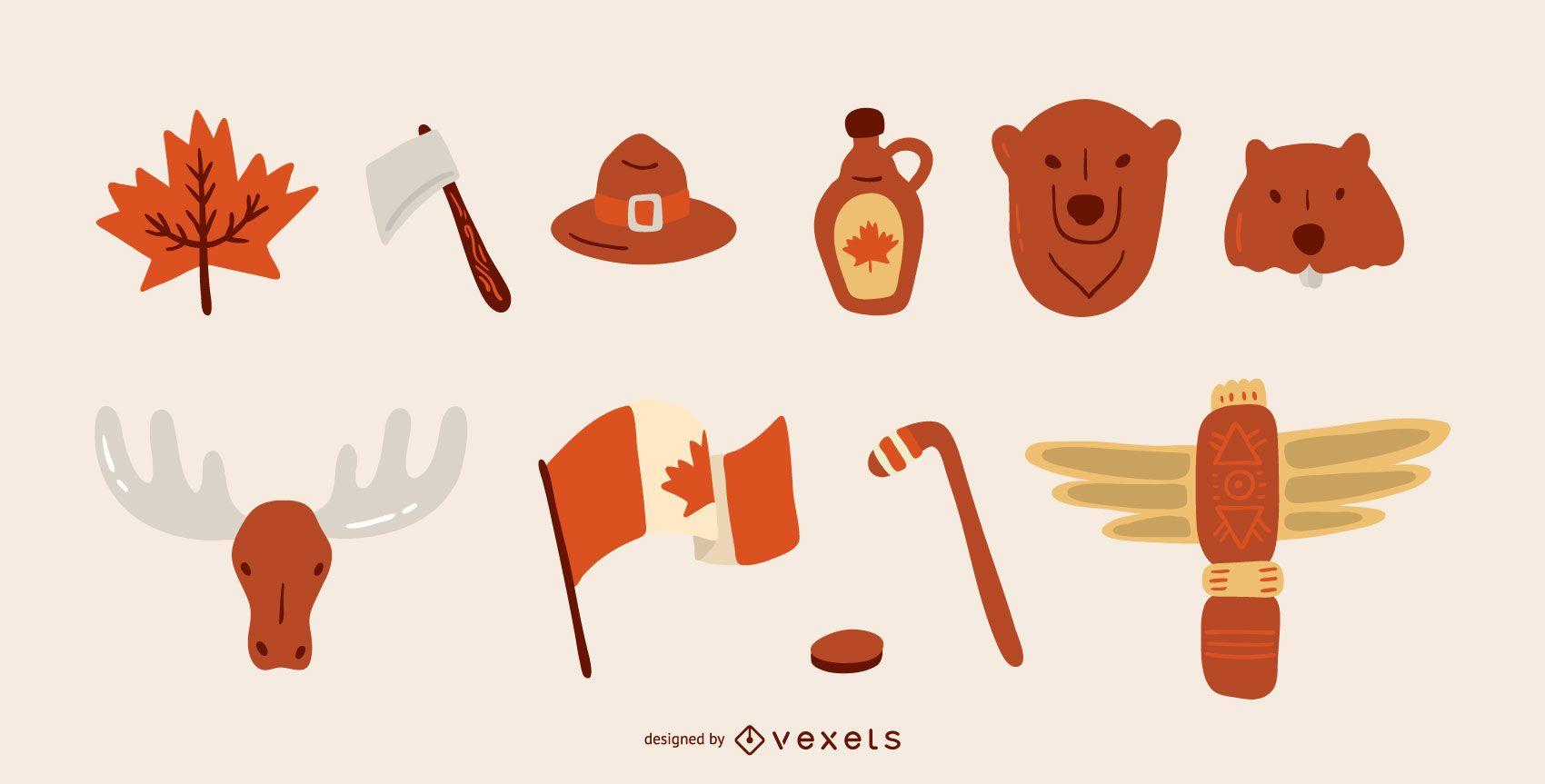 Canadian elements vector set