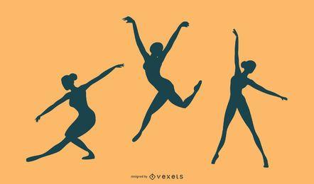 Ballerina-Schattenbild-Vektor-Satz