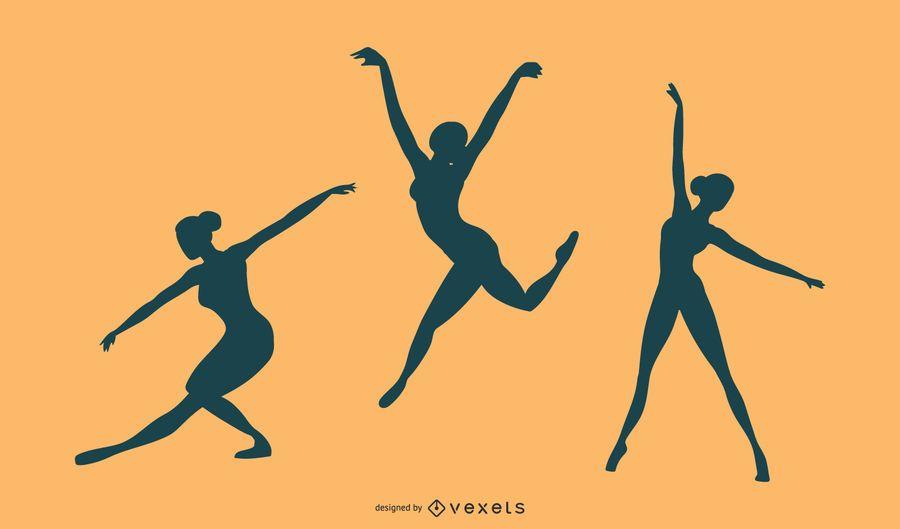 Conjunto de vectores de silueta de bailarina